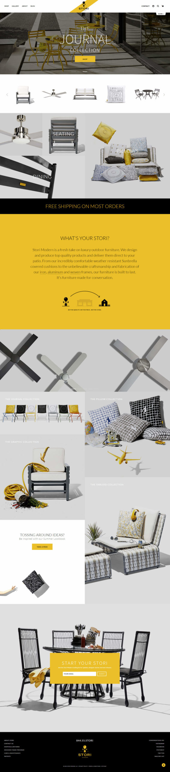 StoriModern eCommerce Website Home Page